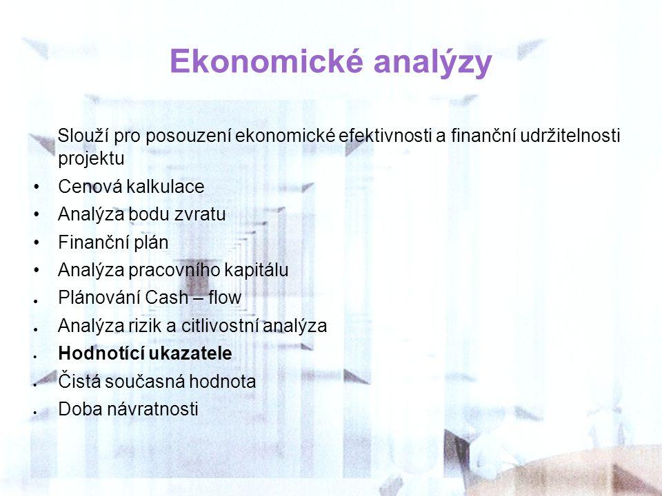 Ekonomické analýzy Slouží pro posouzení ekonomické efektivnosti a finanční udržitelnosti projektu Cenová kalkulace Analýza bodu zvratu Finanční plán A