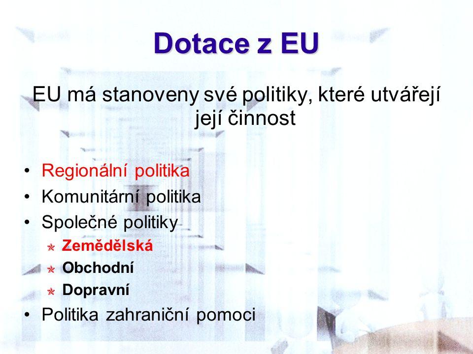 Dotace z EU EU má stanoveny své politiky, které utvářejí její činnost Regionální politika Komunitární politika Společné politiky Zemědělská Obchodní D