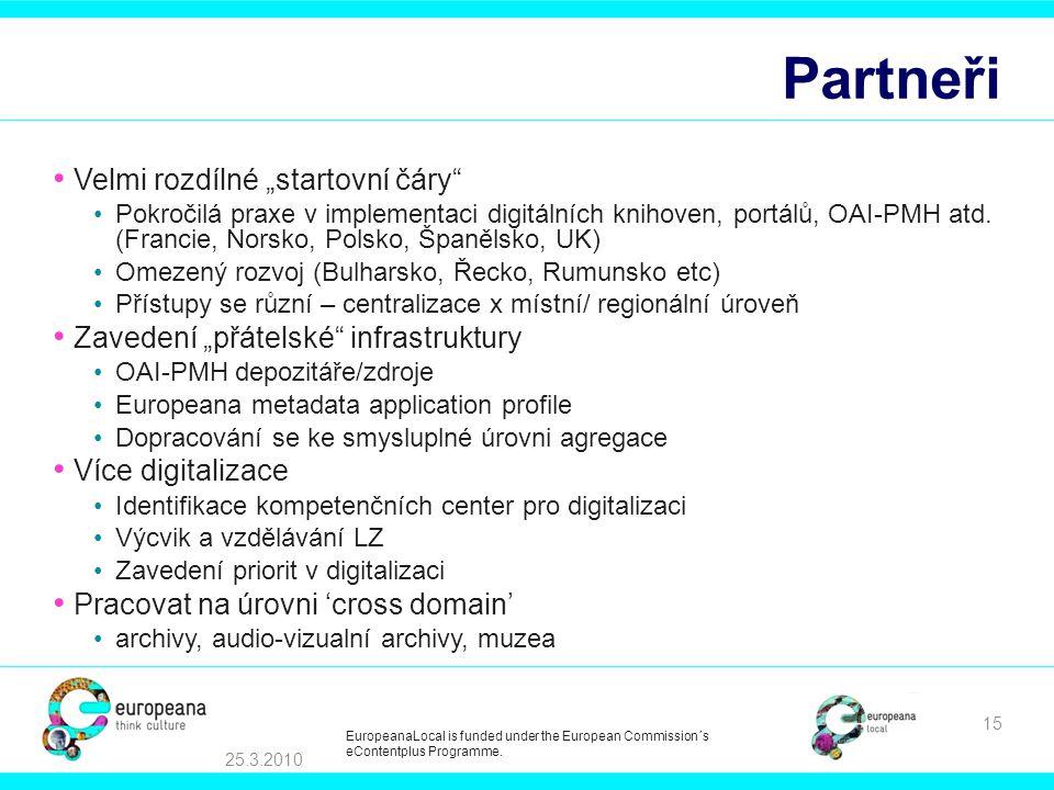 """Partneři Velmi rozdílné """"startovní čáry Pokročilá praxe v implementaci digitálních knihoven, portálů, OAI-PMH atd."""