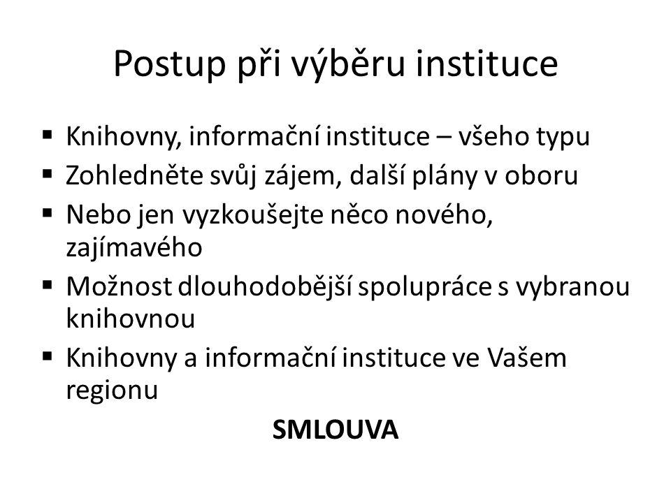 Postup při výběru instituce  Knihovny, informační instituce – všeho typu  Zohledněte svůj zájem, další plány v oboru  Nebo jen vyzkoušejte něco nov