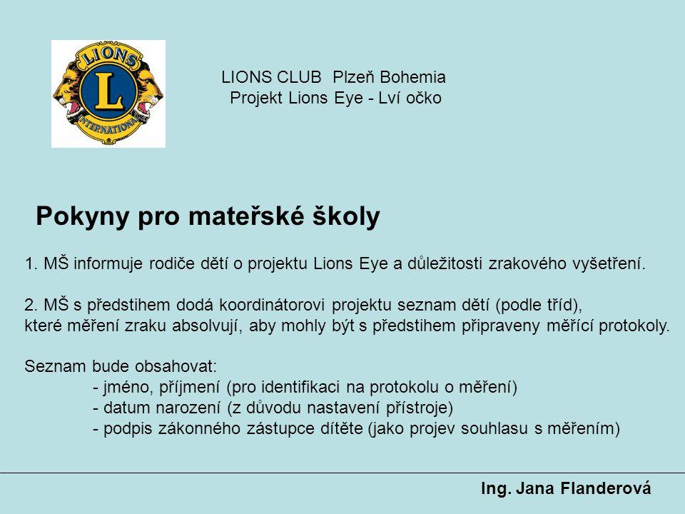 Pokyny pro mateřské školy Ing. Jana Flanderová 1. MŠ informuje rodiče dětí o projektu Lions Eye a důležitosti zrakového vyšetření. 2. MŠ s předstihem