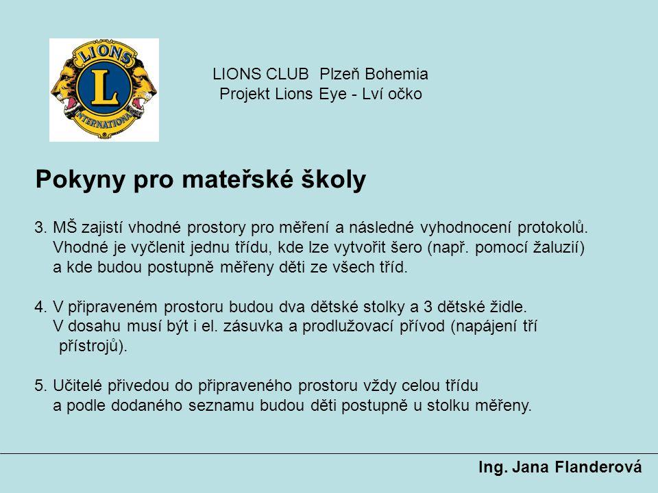 Pokyny pro mateřské školy Ing. Jana Flanderová 3. MŠ zajistí vhodné prostory pro měření a následné vyhodnocení protokolů. Vhodné je vyčlenit jednu tří