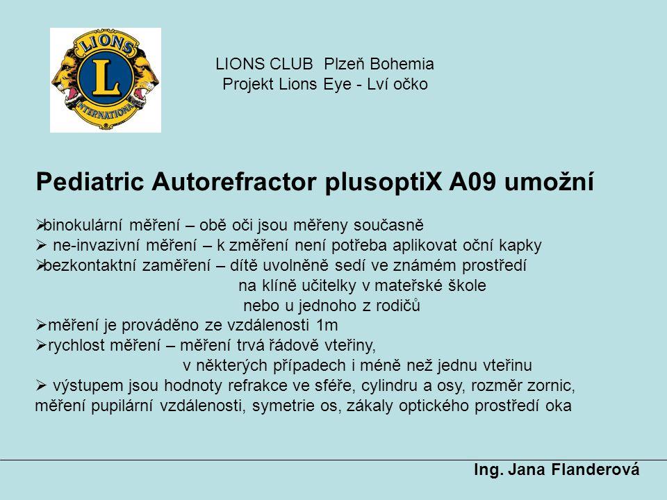 Pediatric Autorefractor plusoptiX A09 umožní Ing. Jana Flanderová  binokulární měření – obě oči jsou měřeny současně  ne-invazivní měření – k změřen