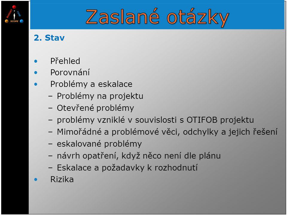 2. Stav Přehled Porovnání Problémy a eskalace –Problémy na projektu –Otevřené problémy –problémy vzniklé v souvislosti s OTIFOB projektu –Mimořádné a