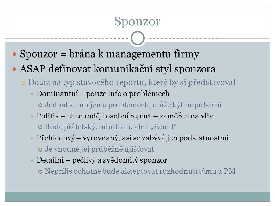 Sponzor Sponzor = brána k managementu firmy ASAP definovat komunikační styl sponzora  Dotaz na typ stavového reportu, který by si představoval  Domi