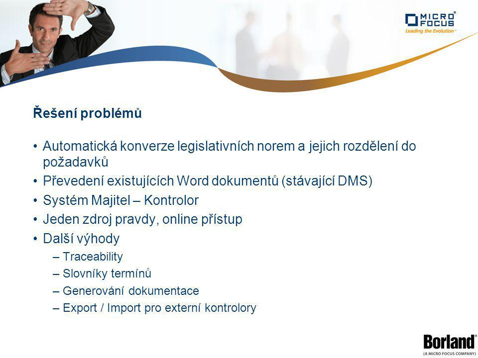 Řešení problémů Automatická konverze legislativních norem a jejich rozdělení do požadavků Převedení existujících Word dokumentů (stávající DMS) Systém