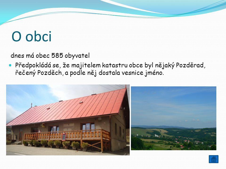 O obci dnes má obec 585 obyvatel Předpokládá se, že majitelem katastru obce byl nějaký Pozděrad, řečený Pozděch, a podle něj dostala vesnice jméno.