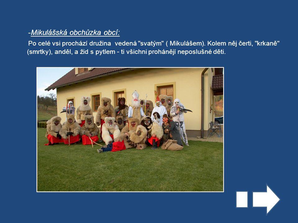 -Mikulášská obchůzka obcí: Po celé vsi prochází družina vedená svatým ( Mikulášem).