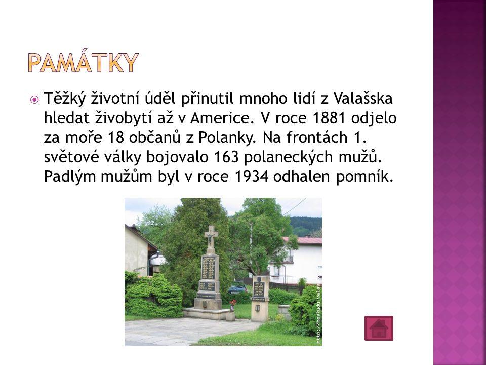  Těžký životní úděl přinutil mnoho lidí z Valašska hledat živobytí až v Americe. V roce 1881 odjelo za moře 18 občanů z Polanky. Na frontách 1. světo