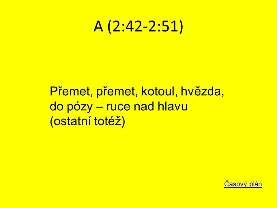 A (2:42-2:51) Časový plán Přemet, přemet, kotoul, hvězda, do pózy – ruce nad hlavu (ostatní totéž)