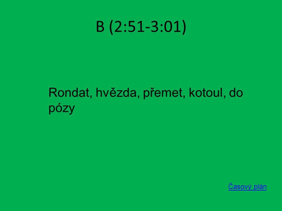 B (2:51-3:01) Časový plán Rondat, hvězda, přemet, kotoul, do pózy