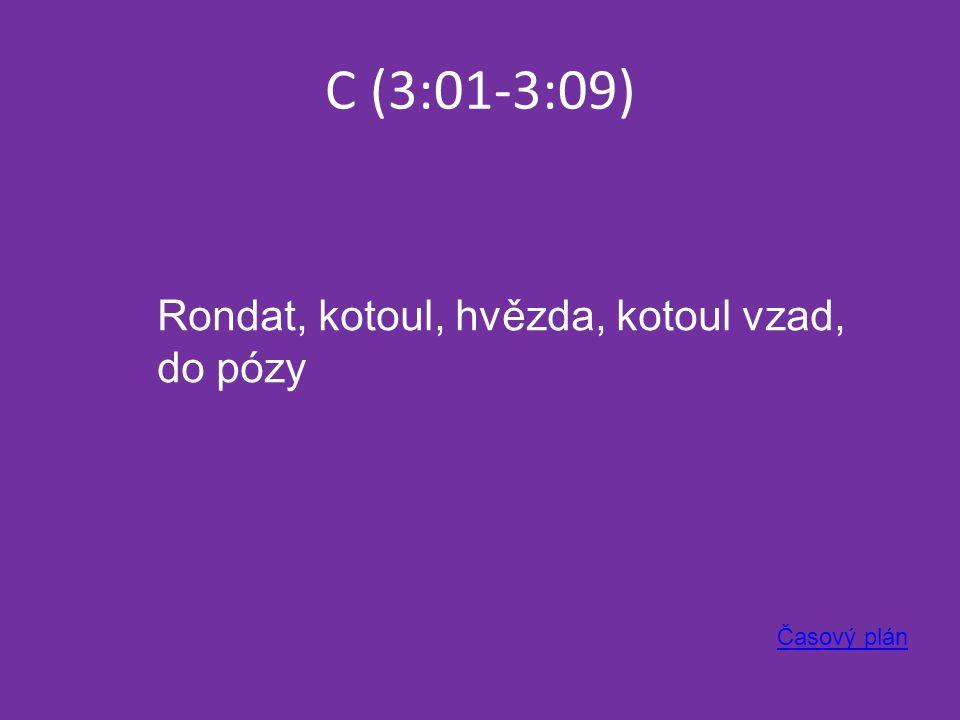 C (3:01-3:09) Časový plán Rondat, kotoul, hvězda, kotoul vzad, do pózy