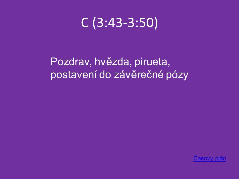 C (3:43-3:50) Časový plán Pozdrav, hvězda, pirueta, postavení do závěrečné pózy