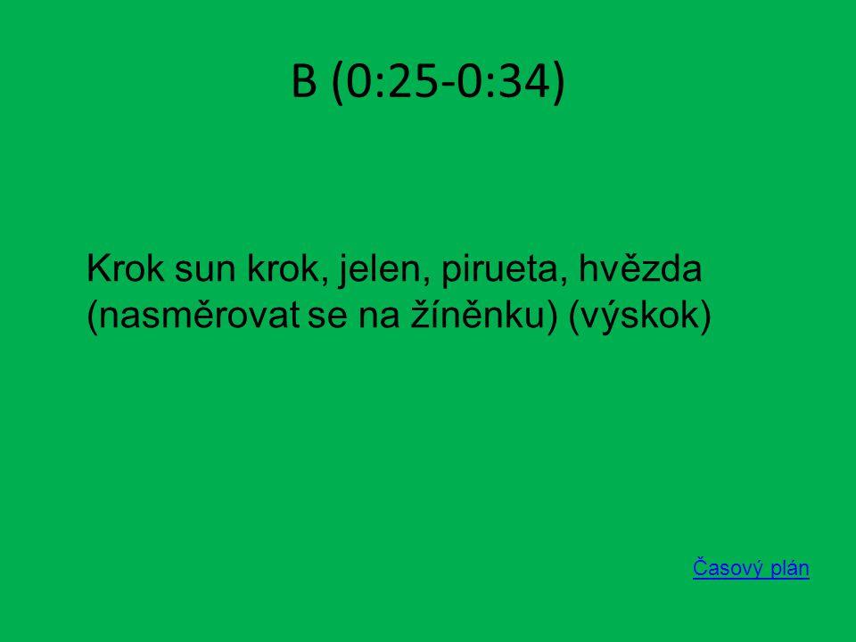 B (0:25-0:34) Časový plán Krok sun krok, jelen, pirueta, hvězda (nasměrovat se na žíněnku) (výskok)