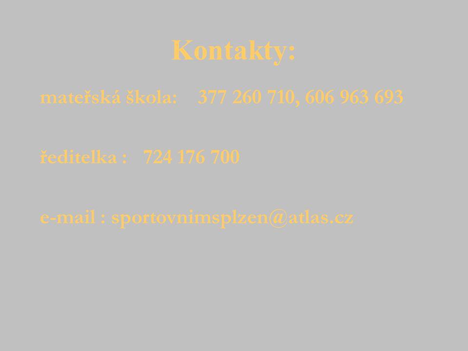 Kontakty: mateřská škola: 377 260 710, 606 963 693 ředitelka : 724 176 700 e-mail : sportovnimsplzen@atlas.cz