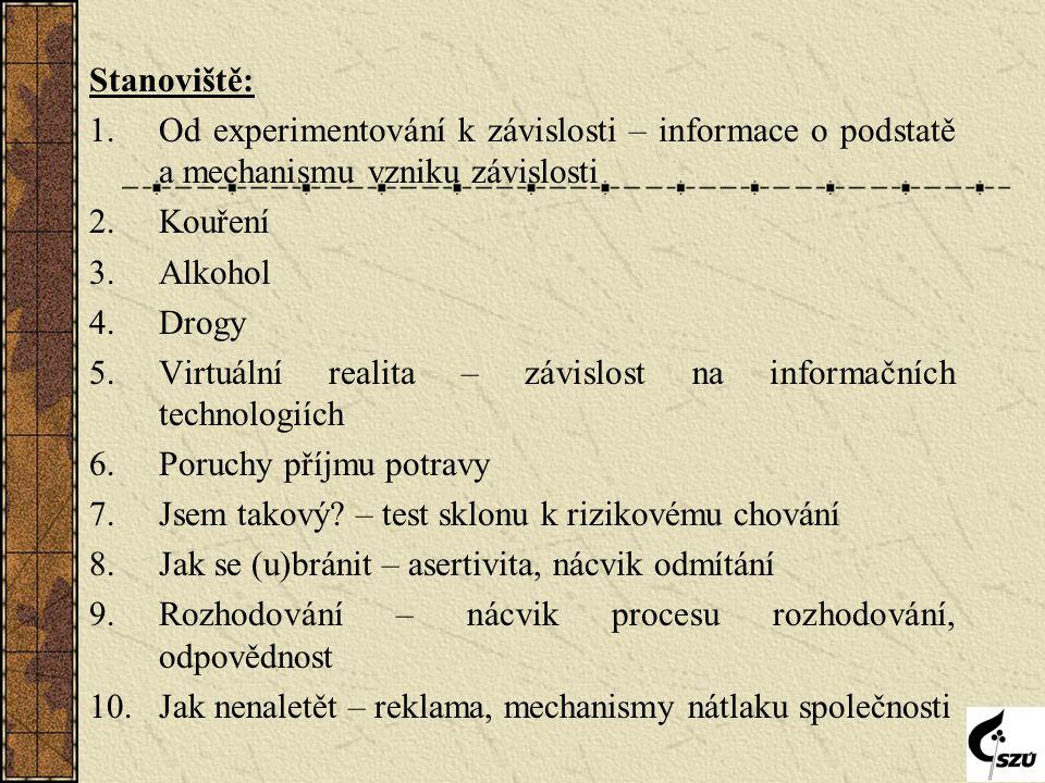 Stanoviště: 1.Od experimentování k závislosti – informace o podstatě a mechanismu vzniku závislosti 2.Kouření 3.Alkohol 4.Drogy 5.Virtuální realita – závislost na informačních technologiích 6.Poruchy příjmu potravy 7.Jsem takový.