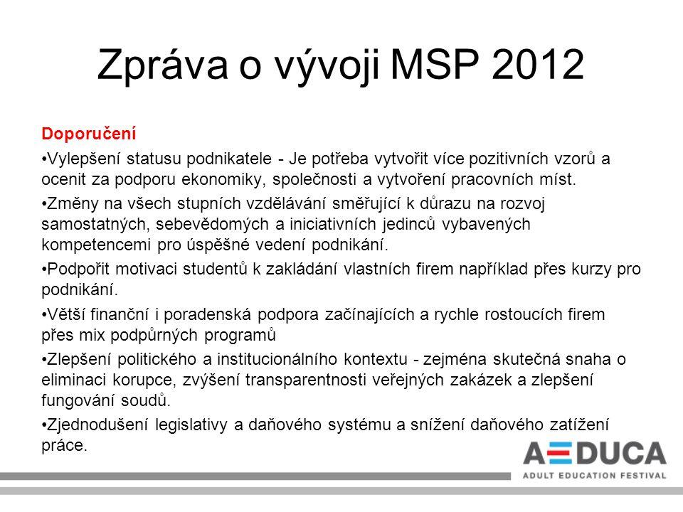 Zpráva o vývoji MSP 2012 Doporučení Vylepšení statusu podnikatele - Je potřeba vytvořit více pozitivních vzorů a ocenit za podporu ekonomiky, společno