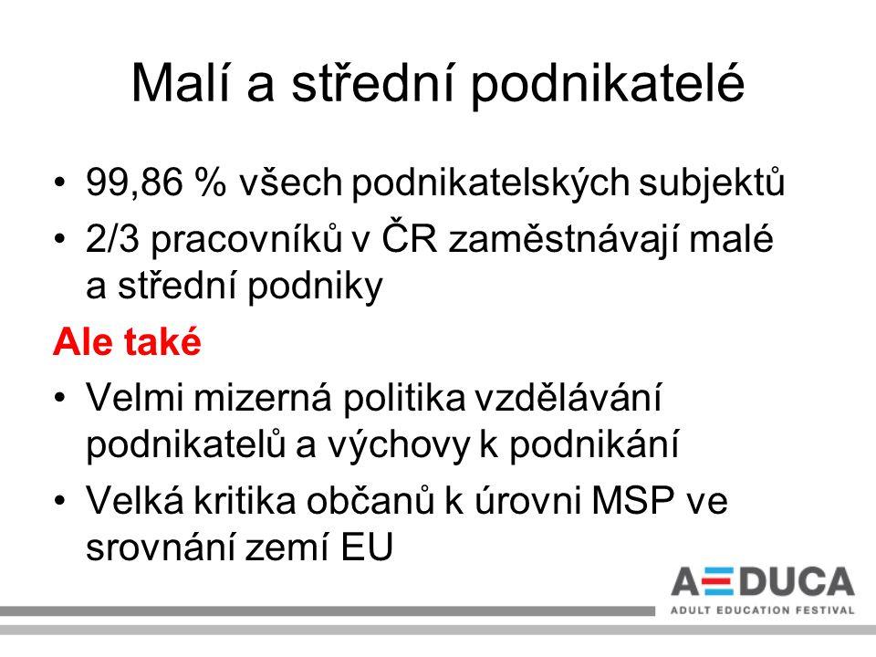 Malí a střední podnikatelé 99,86 % všech podnikatelských subjektů 2/3 pracovníků v ČR zaměstnávají malé a střední podniky Ale také Velmi mizerná polit