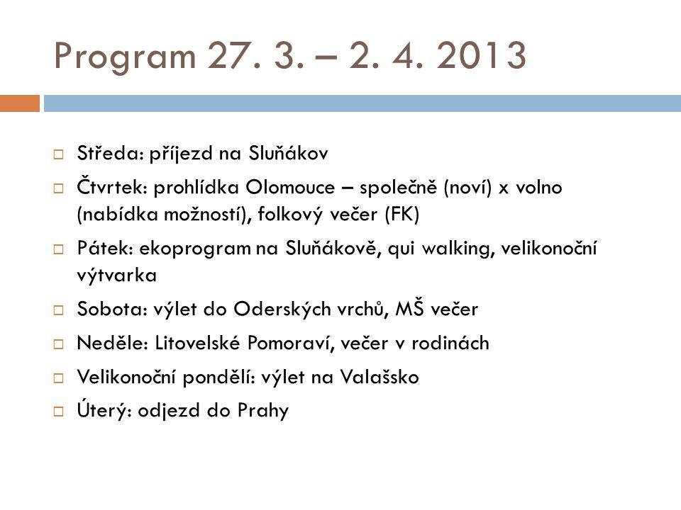 Středa  Po příjezdu na Sluňákov (Horka nad Moravou) pohodlné ubytování  Studená večeře, volný program (hospoda?)