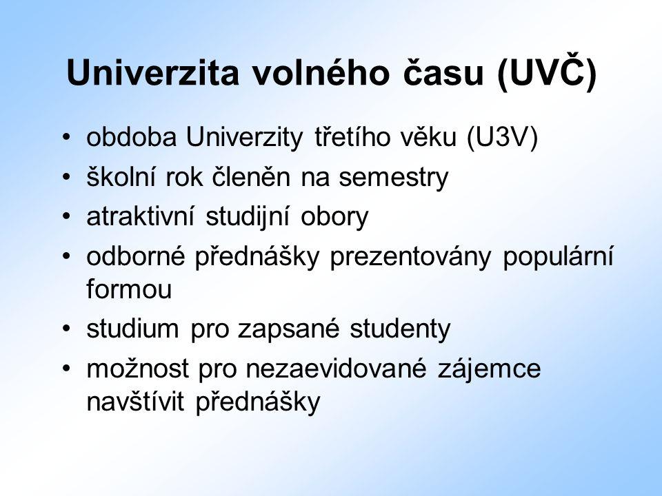 Univerzita volného času (UVČ) obdoba Univerzity třetího věku (U3V) školní rok členěn na semestry atraktivní studijní obory odborné přednášky prezentov