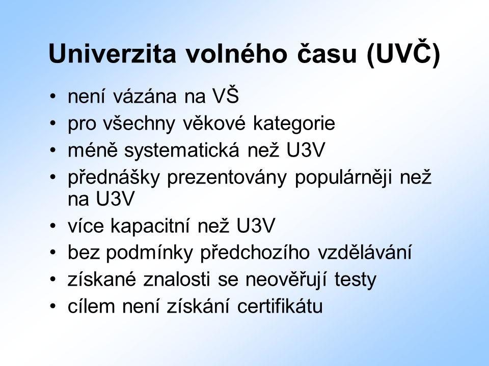Univerzita volného času (UVČ) není vázána na VŠ pro všechny věkové kategorie méně systematická než U3V přednášky prezentovány populárněji než na U3V v