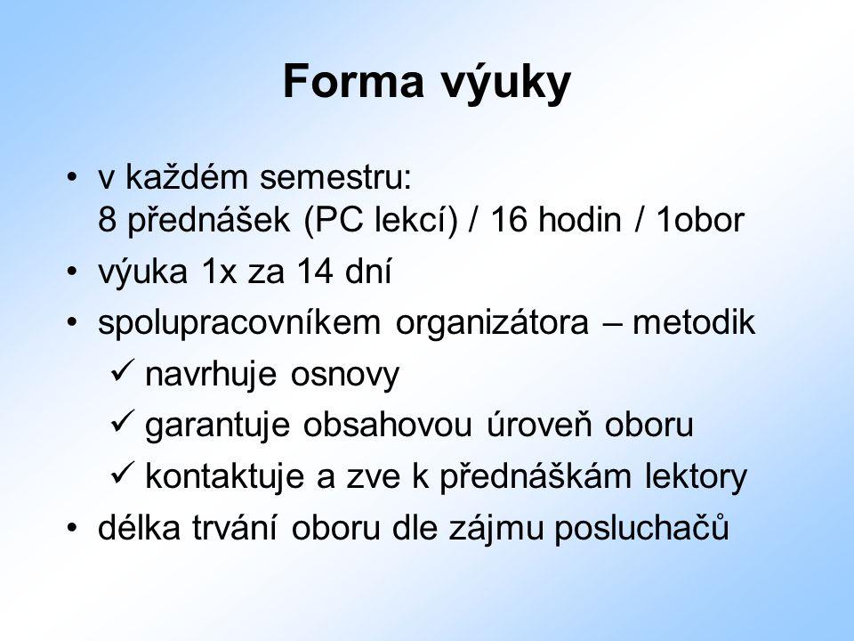 Forma výuky v každém semestru: 8 přednášek (PC lekcí) / 16 hodin / 1obor výuka 1x za 14 dní spolupracovníkem organizátora – metodik navrhuje osnovy ga