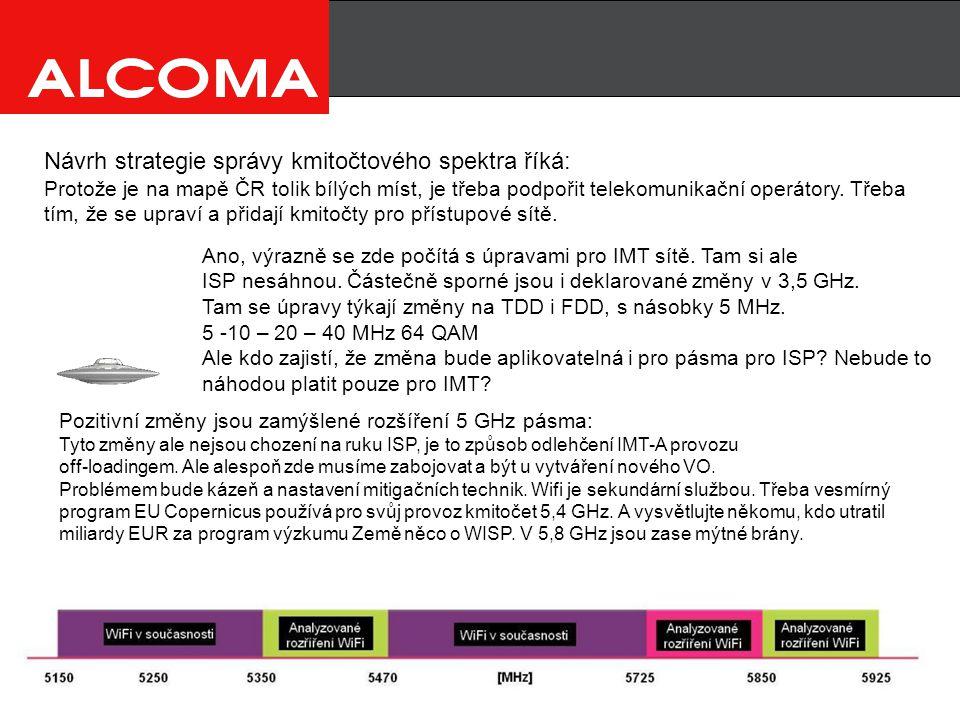 Návrh strategie správy kmitočtového spektra říká: Protože je na mapě ČR tolik bílých míst, je třeba podpořit telekomunikační operátory.