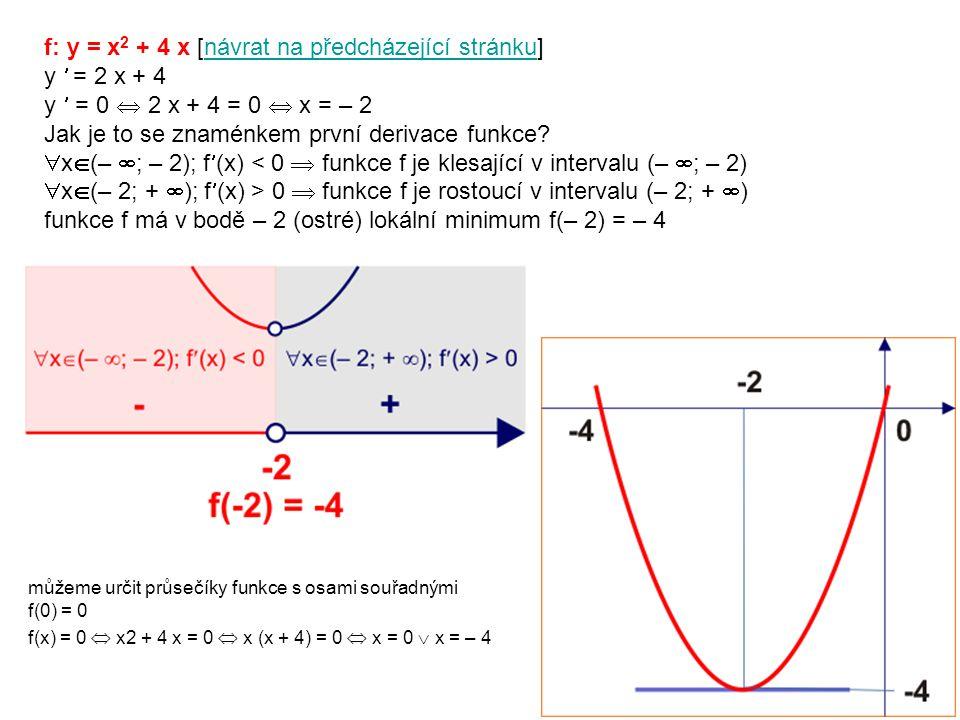 f: y = x 2 + 4 x [návrat na předcházející stránku]návrat na předcházející stránku y = 2 x + 4 y = 0  2 x + 4 = 0  x = – 2 Jak je to se znaménkem první derivace funkce.