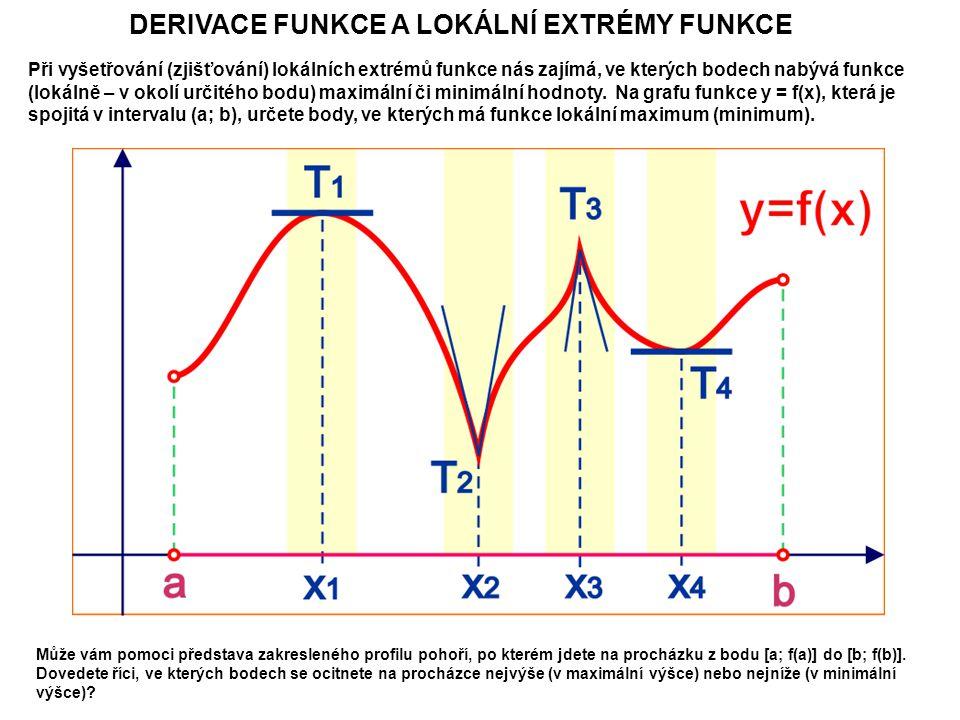 DERIVACE FUNKCE A LOKÁLNÍ EXTRÉMY FUNKCE Při vyšetřování (zjišťování) lokálních extrémů funkce nás zajímá, ve kterých bodech nabývá funkce (lokálně – v okolí určitého bodu) maximální či minimální hodnoty.