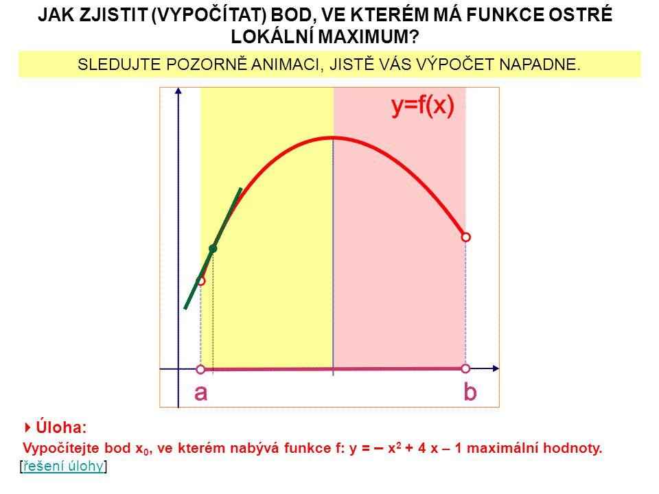  DEFINICE LOKÁLNÍHO MINIMA Funkce f má v bodě x 0 lokální minimum tehdy, když existuje  -okolí bodu x 0 [tedy interval (x 0 –  ; x 0 +  )  D(f)], že pro každé x  (x 0 –  ; x 0 +  ) platí: f(x)  f(x 0 ).