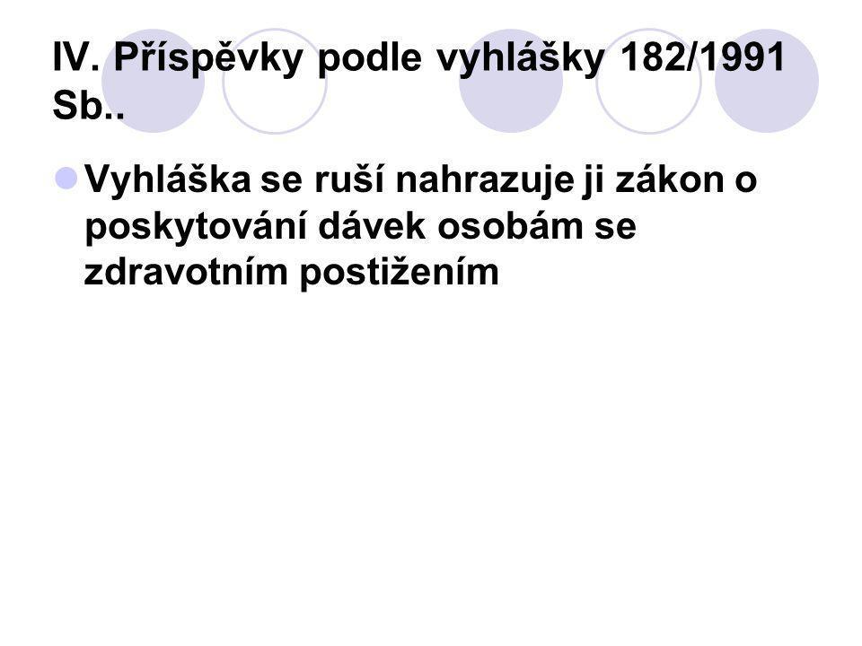 IV.Příspěvky podle vyhlášky 182/1991 Sb..