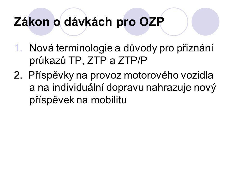 Zákon o dávkách pro OZP 1.Nová terminologie a důvody pro přiznání průkazů TP, ZTP a ZTP/P 2.