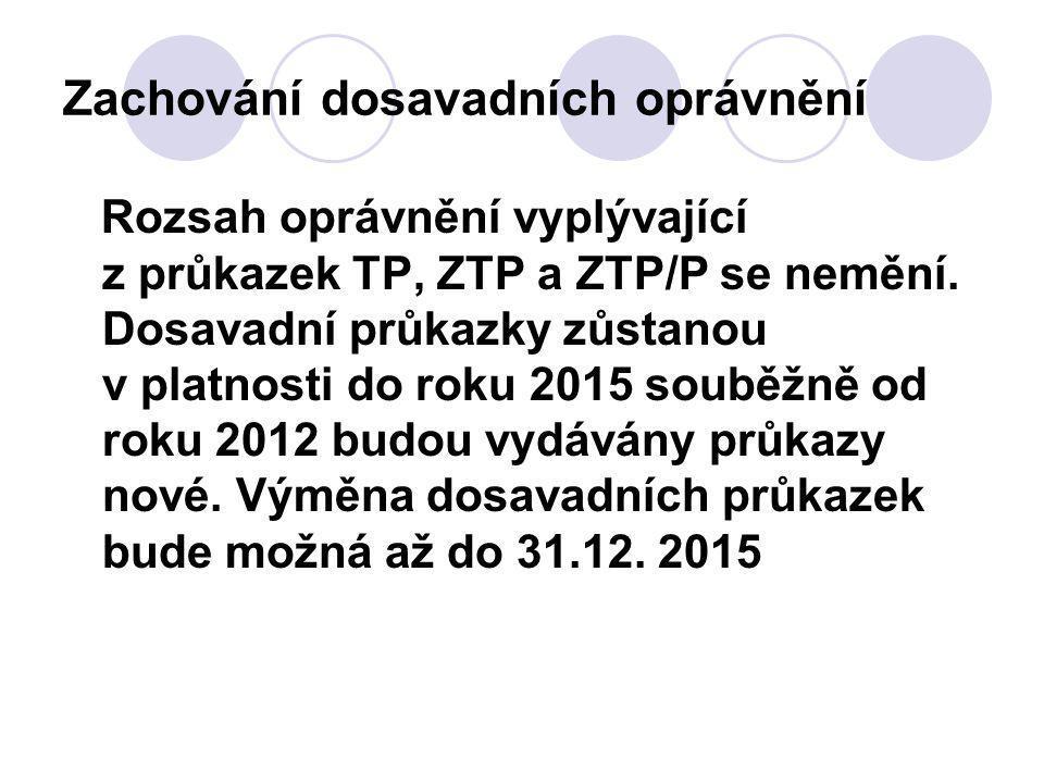 Zachování dosavadních oprávnění Rozsah oprávnění vyplývající z průkazek TP, ZTP a ZTP/P se nemění.