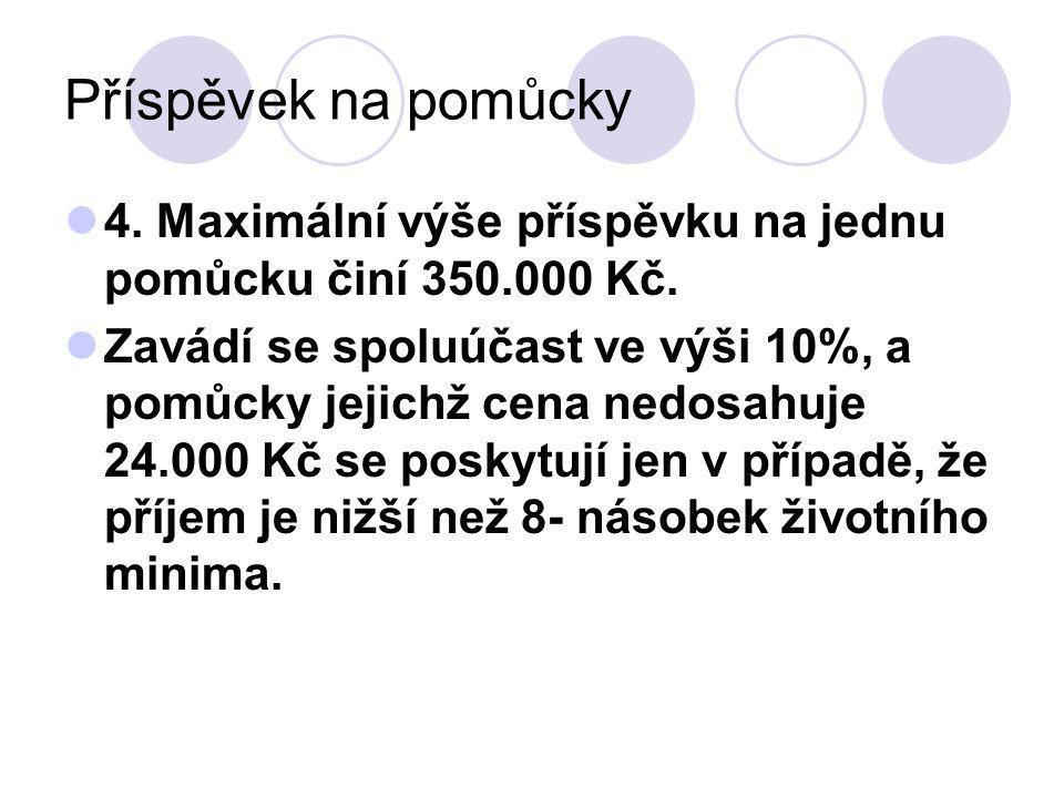 Příspěvek na pomůcky 4.Maximální výše příspěvku na jednu pomůcku činí 350.000 Kč.