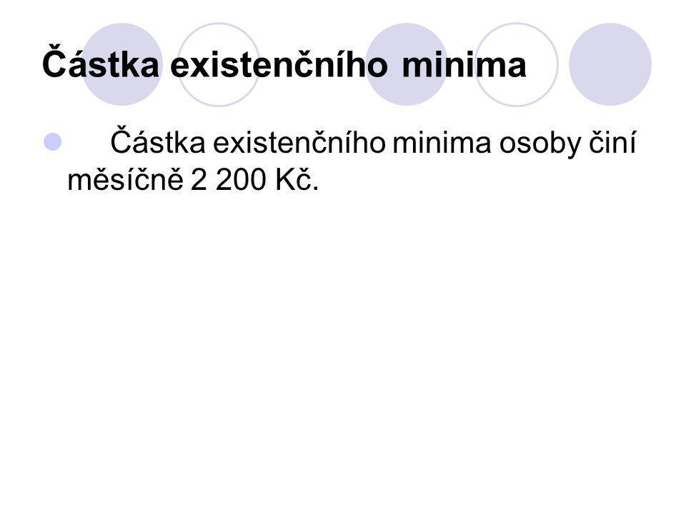 Částka existenčního minima Částka existenčního minima osoby činí měsíčně 2 200 Kč.