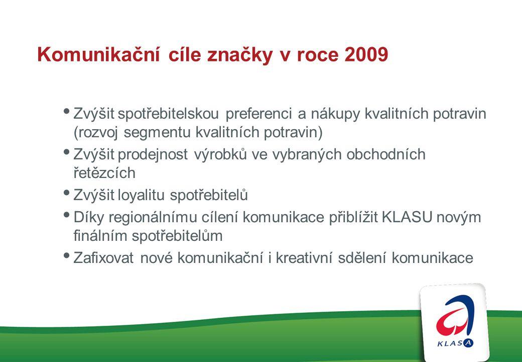 Komunikační cíle značky v roce 2009 Zvýšit spotřebitelskou preferenci a nákupy kvalitních potravin (rozvoj segmentu kvalitních potravin) Zvýšit prodej