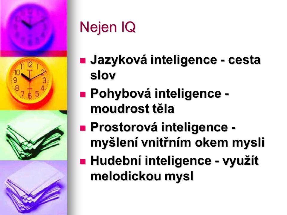 Nejen IQ -2 Logicko-matematická inteligence - matematická mysl Logicko-matematická inteligence - matematická mysl Komunikační inteligence Komunikační inteligence Inteligence vnitřního já Inteligence vnitřního já
