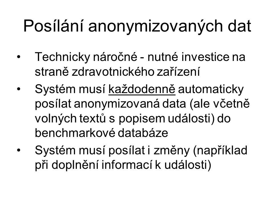 Posílání anonymizovaných dat Technicky náročné - nutné investice na straně zdravotnického zařízení Systém musí každodenně automaticky posílat anonymiz