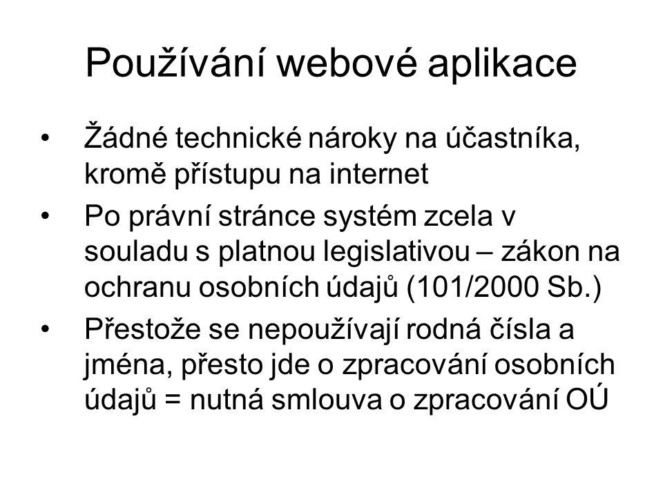 Používání webové aplikace Žádné technické nároky na účastníka, kromě přístupu na internet Po právní stránce systém zcela v souladu s platnou legislati
