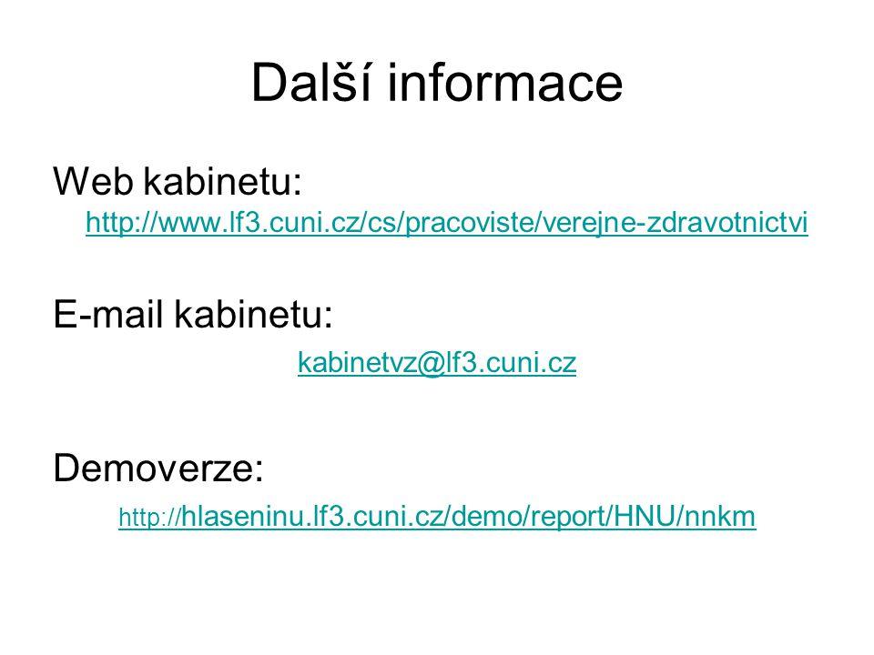 Další informace Web kabinetu: http://www.lf3.cuni.cz/cs/pracoviste/verejne-zdravotnictvi http://www.lf3.cuni.cz/cs/pracoviste/verejne-zdravotnictvi E-