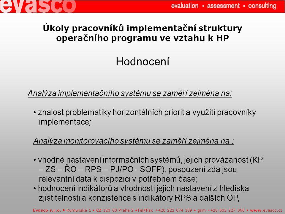 Úkoly pracovníků implementační struktury operačního programu ve vztahu k HP Hodnocení Evasco s.r.o.