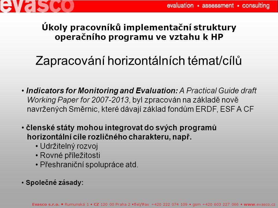 Úkoly pracovníků implementační struktury operačního programu ve vztahu k HP Zapracování horizontálních témat/cílů Evasco s.r.o.