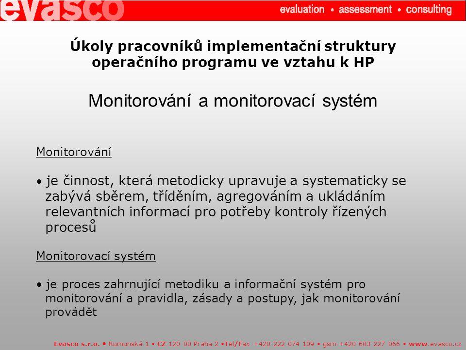 Úkoly pracovníků implementační struktury operačního programu ve vztahu k HP Monitorování a monitorovací systém Evasco s.r.o.