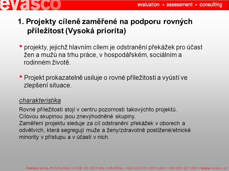 1.Projekty cíleně zaměřené na podporu rovných příležitost (Vysoká priorita) Evasco s.r.o.