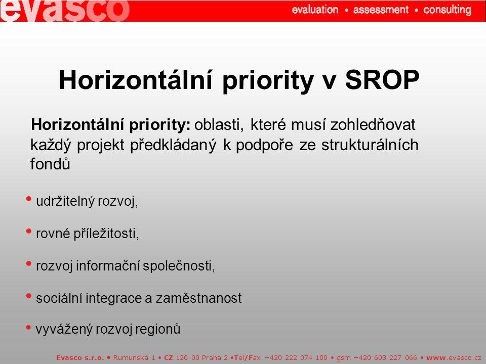 Horizontální priority v SROP Evasco s.r.o.