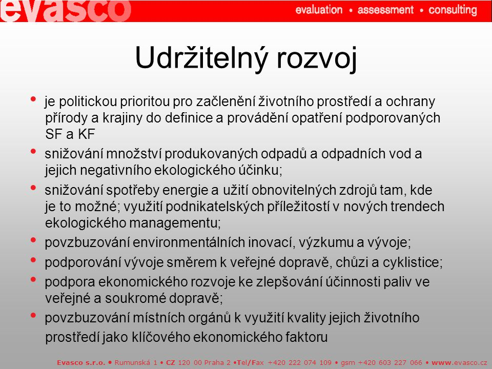 Udržitelný rozvoj Evasco s.r.o.
