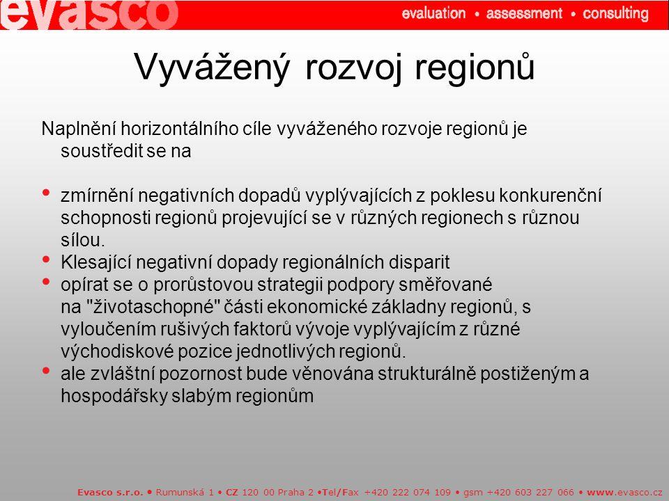 Vyvážený rozvoj regionů Evasco s.r.o.