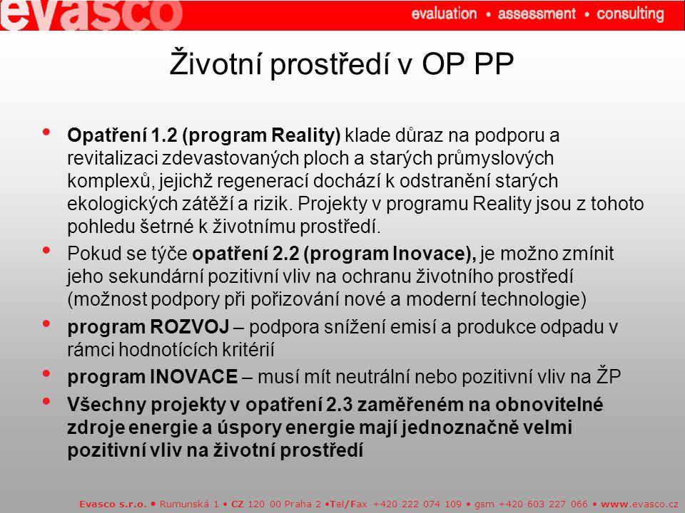Životní prostředí v OP PP Evasco s.r.o.