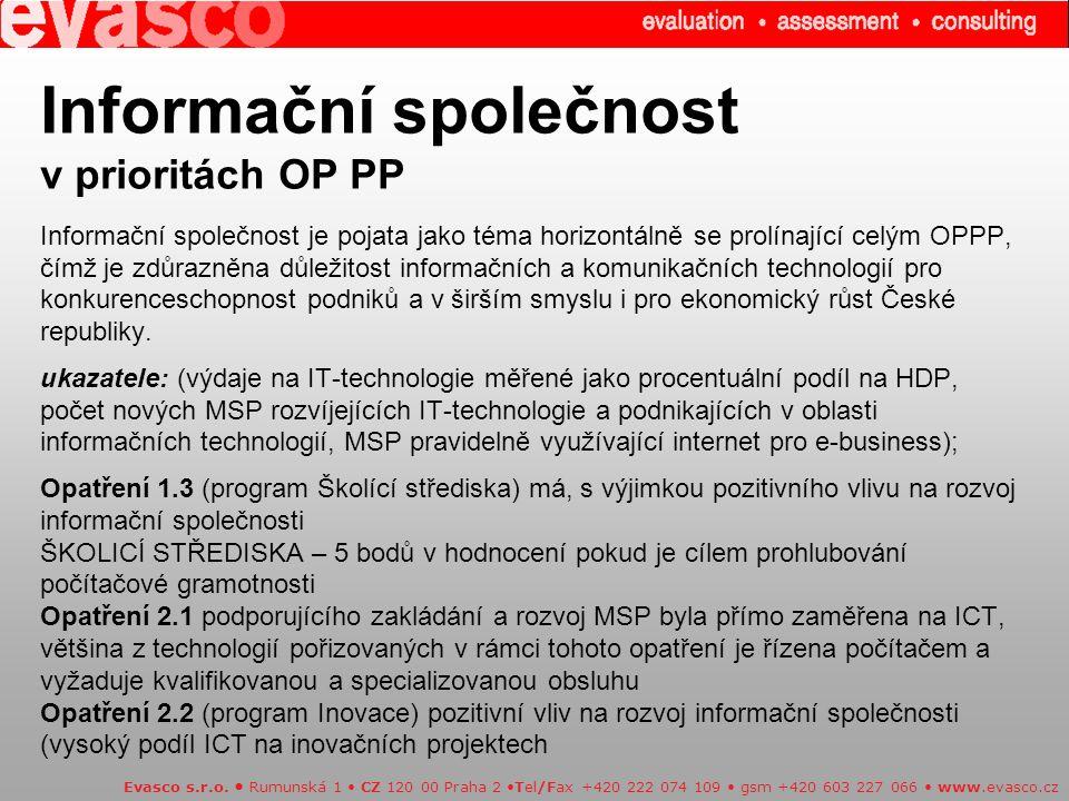 Informační společnost v prioritách OP PP Informační společnost je pojata jako téma horizontálně se prolínající celým OPPP, čímž je zdůrazněna důležitost informačních a komunikačních technologií pro konkurenceschopnost podniků a v širším smyslu i pro ekonomický růst České republiky.