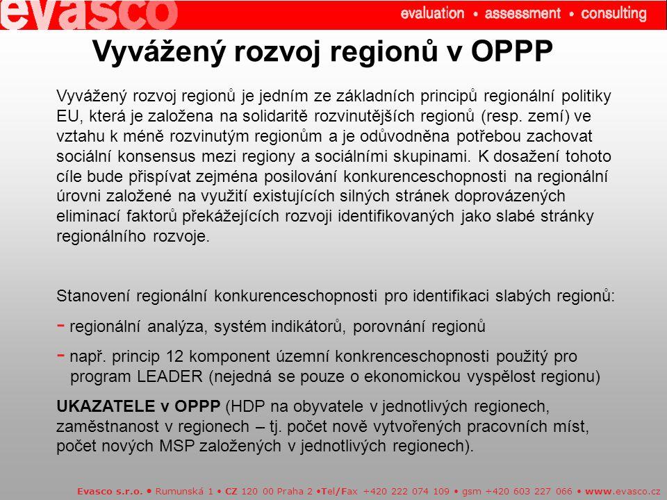 Vyvážený rozvoj regionů v OPPP Vyvážený rozvoj regionů je jedním ze základních principů regionální politiky EU, která je založena na solidaritě rozvinutějších regionů (resp.